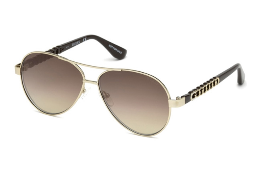 Guess GU 7518-S Sunglasses in 32G - Gold / Brown Mirror