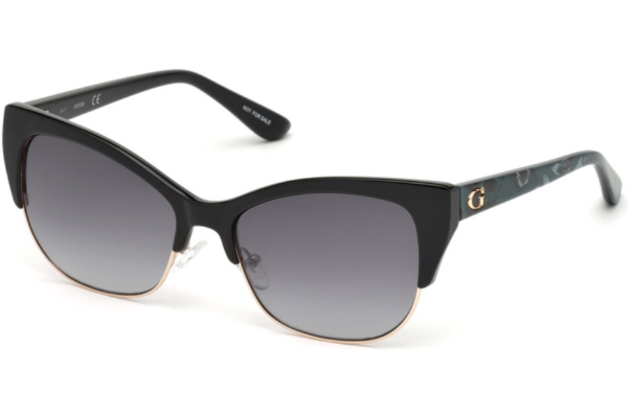 Guess GU 7523 Sunglasses in 05B - Black/other / Gradient Smoke