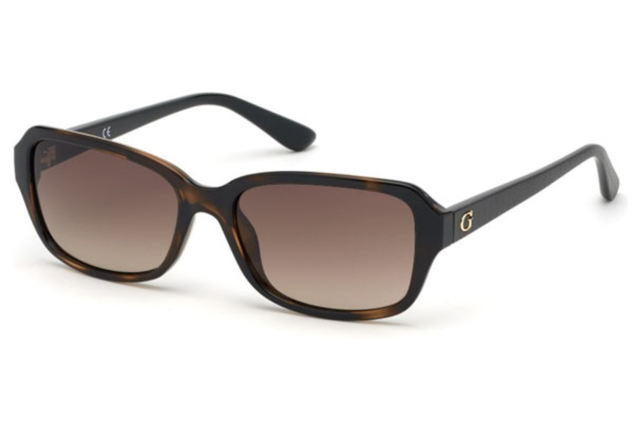 Guess GU 7595 Sunglasses in 52F - Dark Havana / Gradient Brown