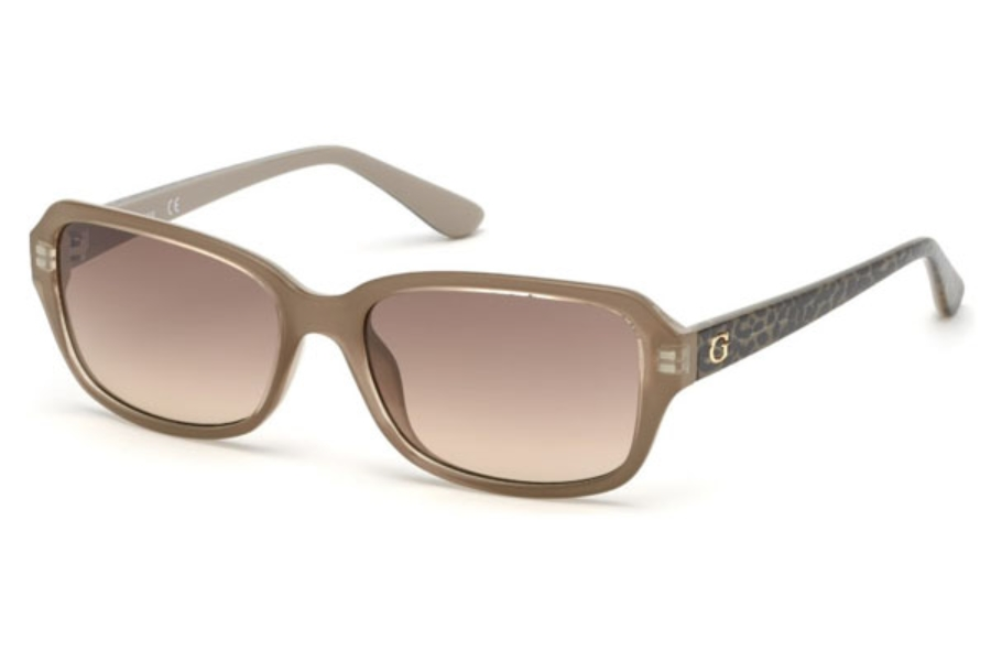 Guess GU 7595 Sunglasses in 57F - Shiny Beige / Gradient Brown