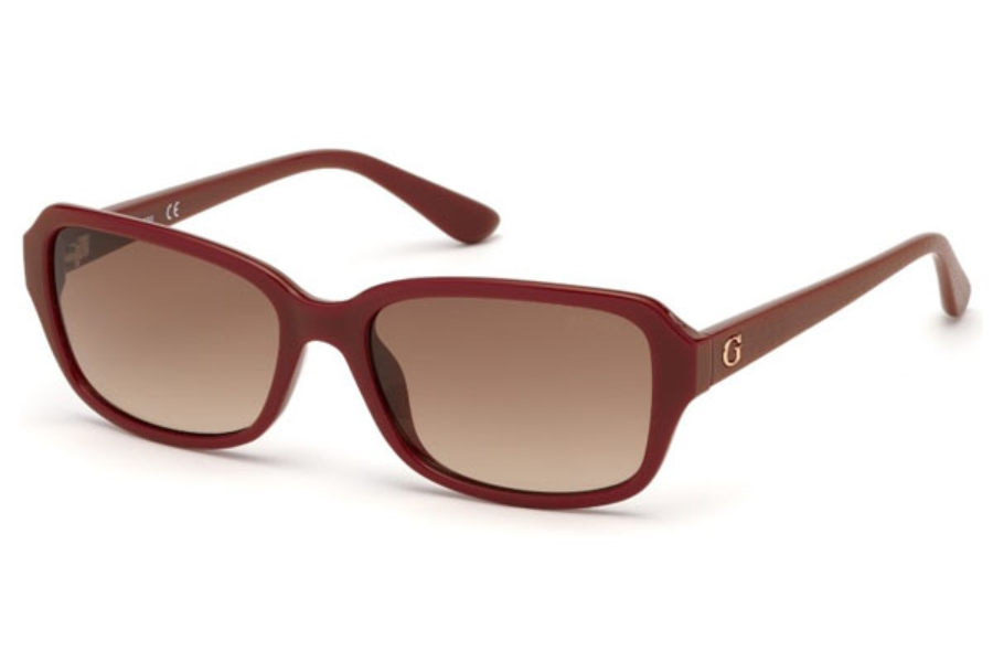 Guess GU 7595 Sunglasses in 66F - Shiny Red / Gradient Brown