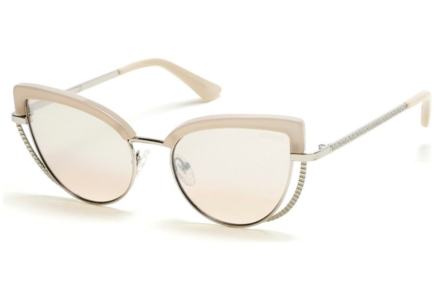 Guess GU 7622 Sunglasses in 25G - Ivory / Brown Mirror