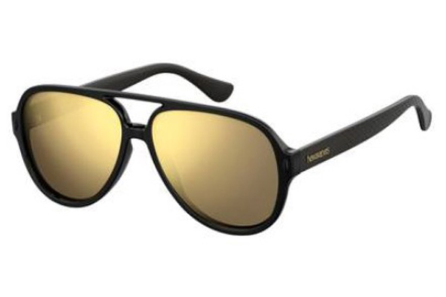 Havaianas Leblon Sunglasses in 0QFU Black (SQ multilayer gold lens)