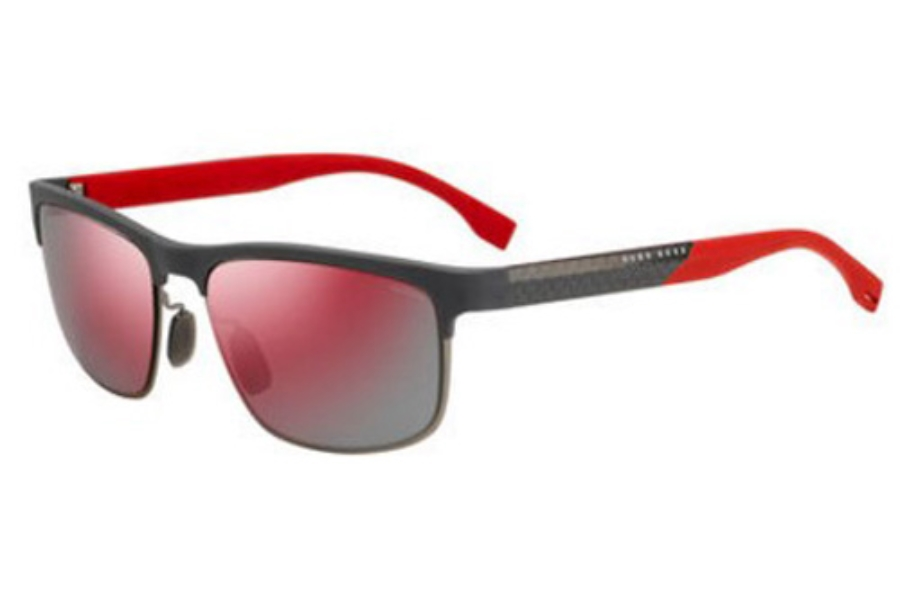 3c68d48639 Hugo Boss BOSS 0835 S Sunglasses in 0IW1 Gray Carbon B Red (OZ red ...