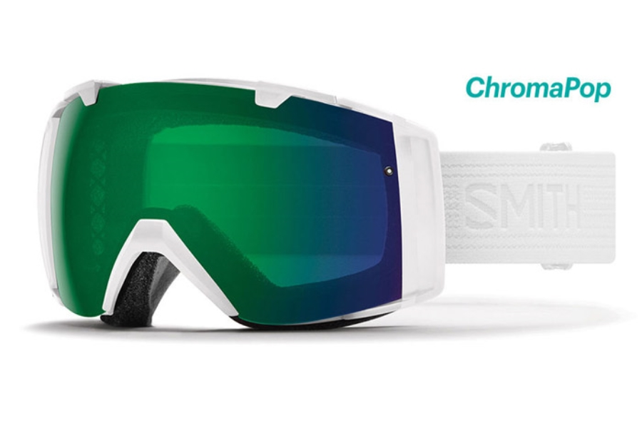 Smith Optics I/O Continued III Goggles in Whiteout/ChromaPop Everyday Green Mirror