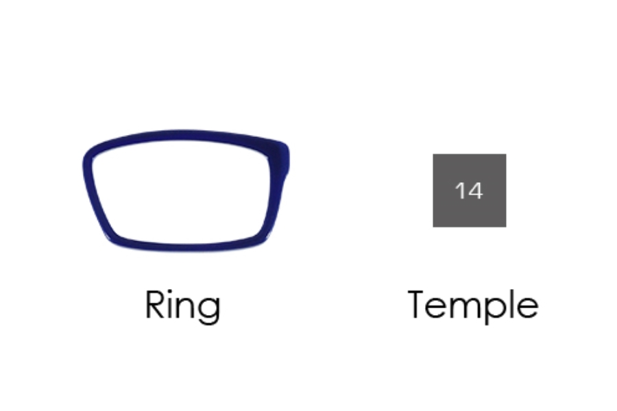 Italee Titanium 101 Eyeglasses in T02 Navy Ring, 14 Silver Temple