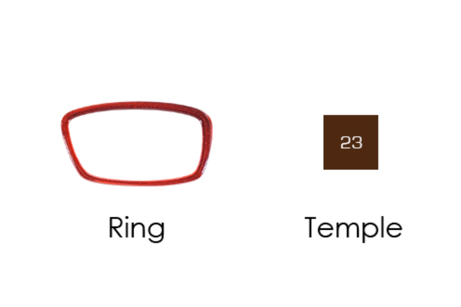 Italee Titanium 101 Eyeglasses in T05 Red Glitter Ring, 23 Brown Temple
