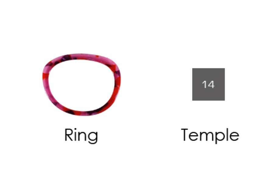 Italee Titanium 101 Eyeglasses in T06 Red Pattern Ring, 14 Silver Temple