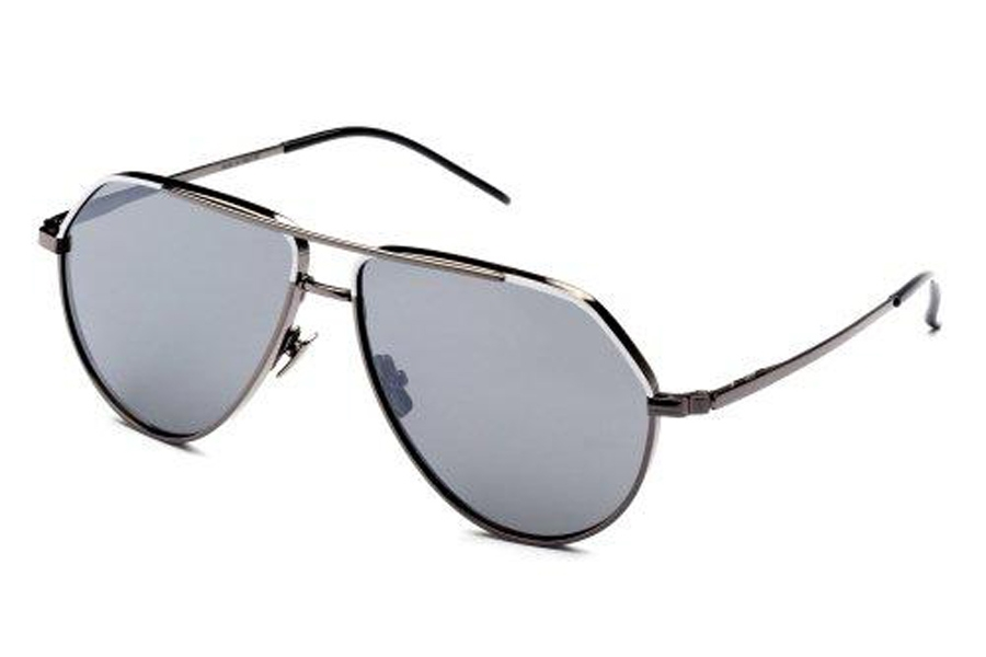 Italia Independent Dominique Sunglasses in 078.001 Gun Metal/White (Mirrored/Silver)