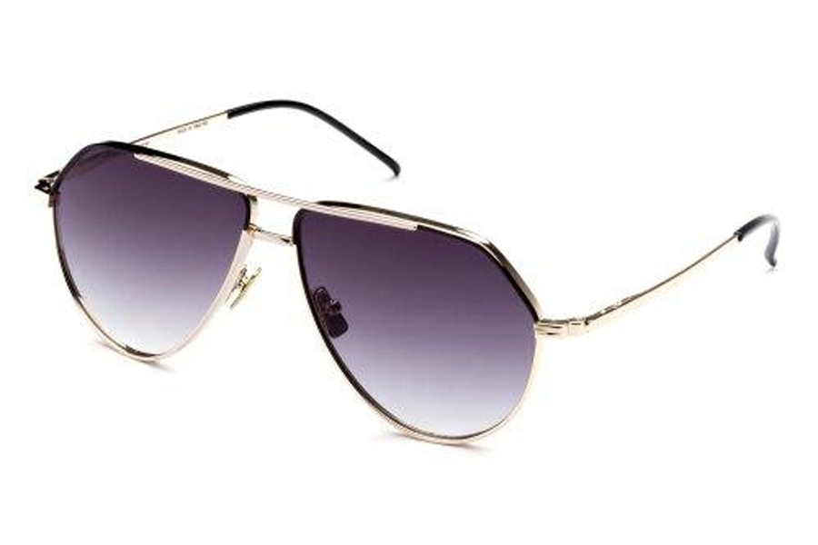 Italia Independent Dominique Sunglasses in 121.009 Pink Gold/Black (Shaded/Grey)