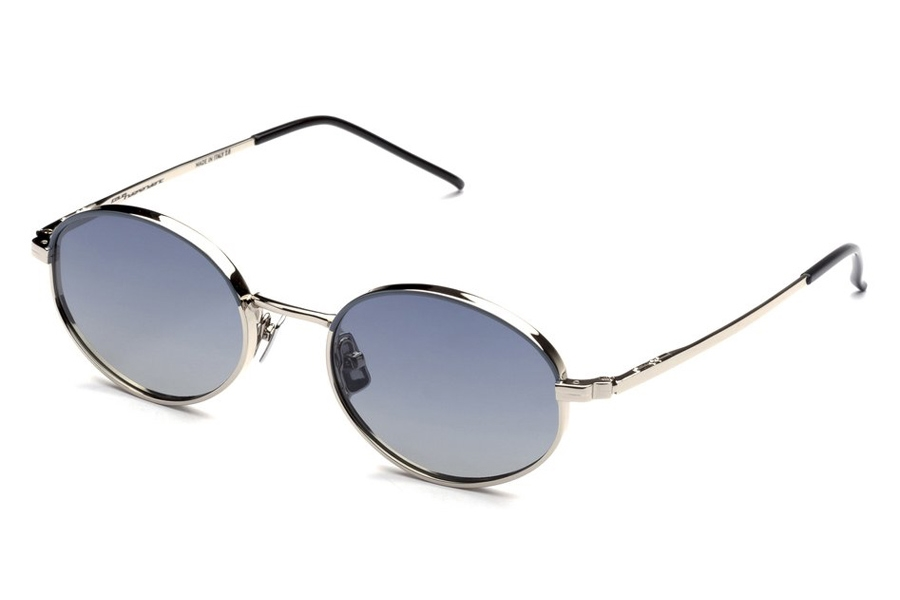 Italia Independent Francis Sunglasses in 075.070 Silver/Mastic (Shaded/Blue)