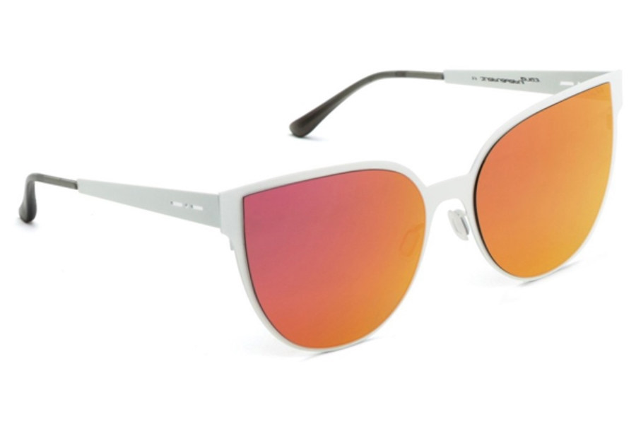 Italia Independent I-I MOD METAL 0511 Sunglasses in 02 White Glossy - Lente Mirrored/Pink