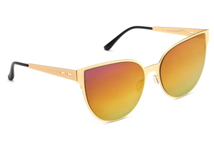 Italia Independent I-I MOD METAL 0511 Sunglasses in 06 Gold Glossy - Lente Mirrored/Raimbow Violet