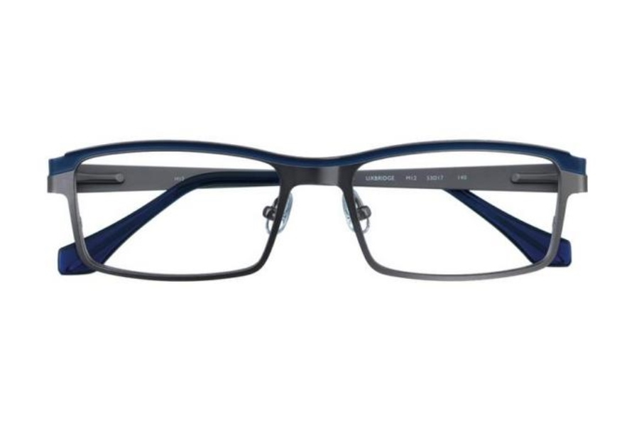 J K London Uxbridge Eyeglasses in M12 Dark Silver / Navy