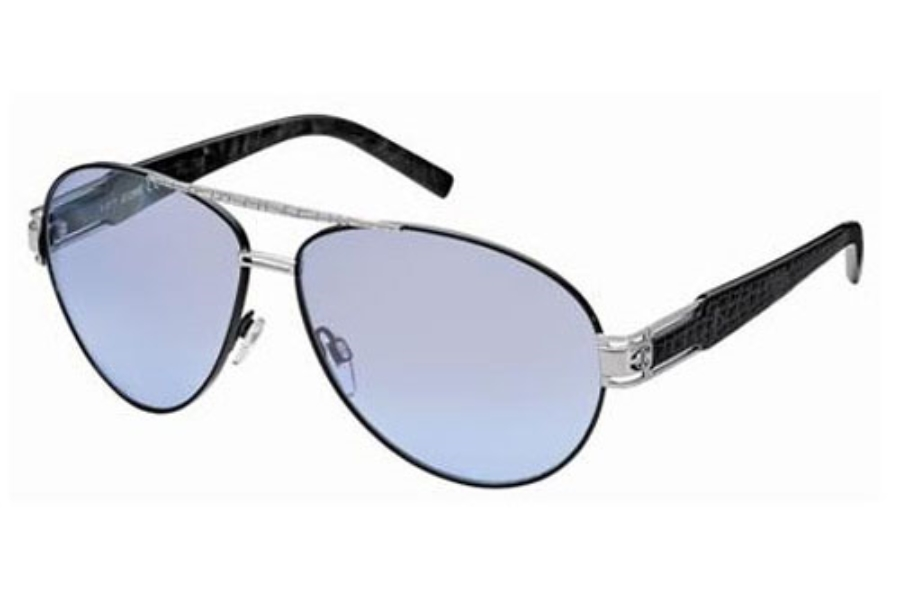Just Cavalli JC400S Sunglasses in 16C Black Silver/Shaded Azure Lenses