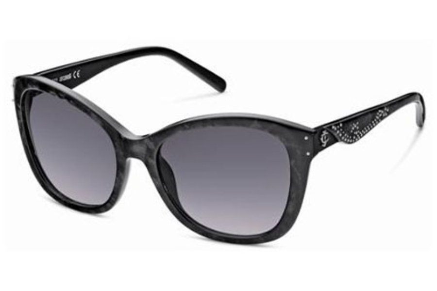 Just Cavalli JC408S Sunglasses in 05B Marble Black/Gradient Smoke Lenses