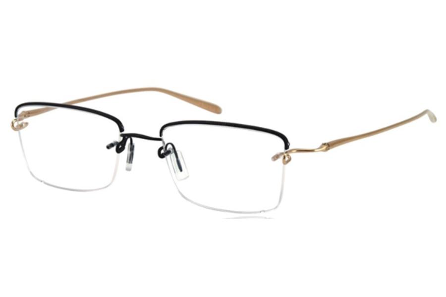 bdf5dfadd4f ... Kazuo Kawasaki MP718 TB Eyeglasses in 38 Black Brushed 12K Gold ...