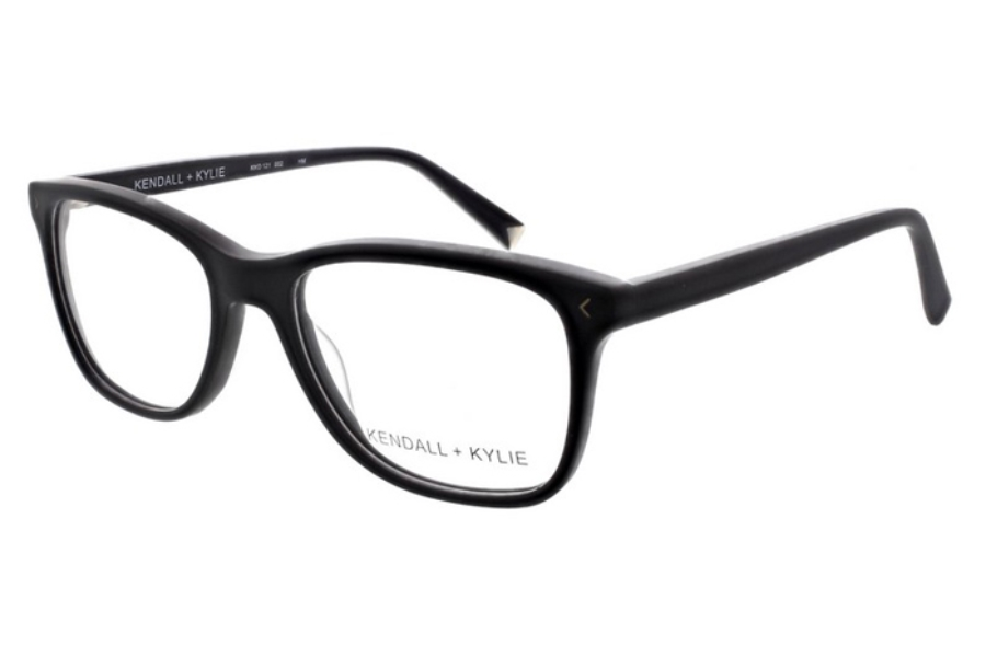 Kendall + Kylie Gia Eyeglasses in 002 Matte Black with Shiny Gold Foil Logo