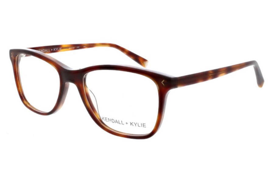 Kendall + Kylie Gia Eyeglasses in 215 Dark Tortoise with Shiny Gold Foil