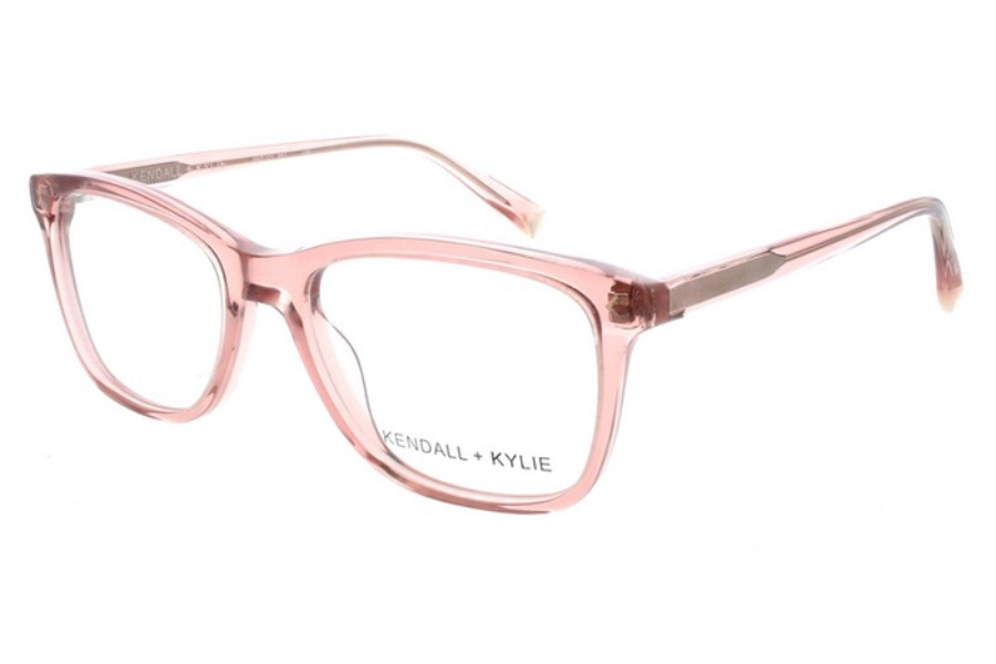 Kendall + Kylie Gia Eyeglasses in 651 Burnt Blush Crystal with Shiny Gold Foil Logo