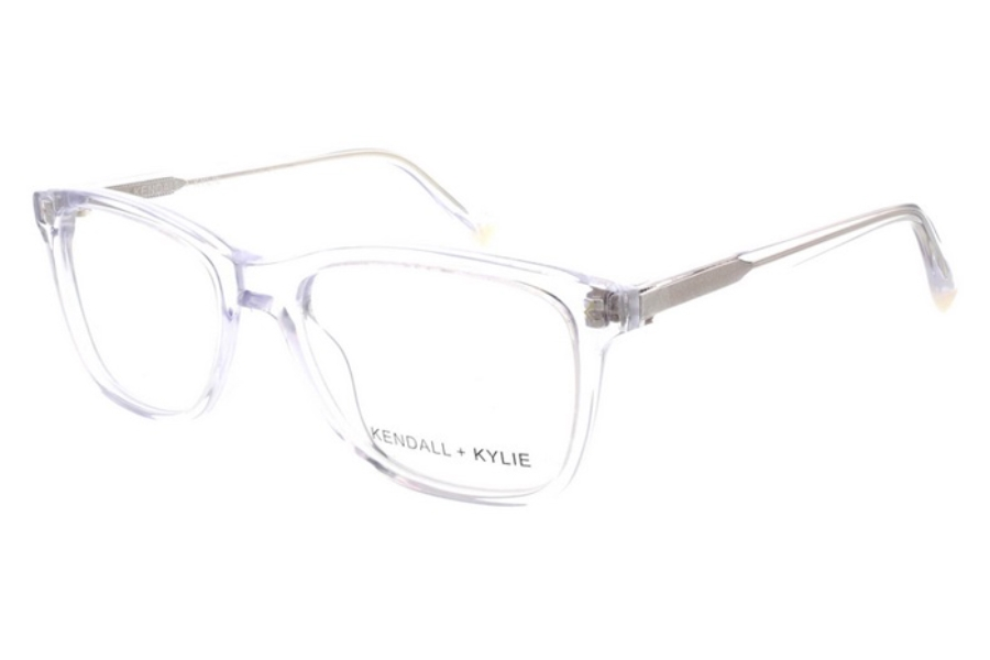 Kendall + Kylie Gia Eyeglasses in 971 Crystal with Shiny Gold Foil Logo