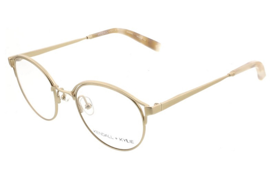 Kendall + Kylie Samara Eyeglasses in 718 Satin Light Gold with Pearlized Sand