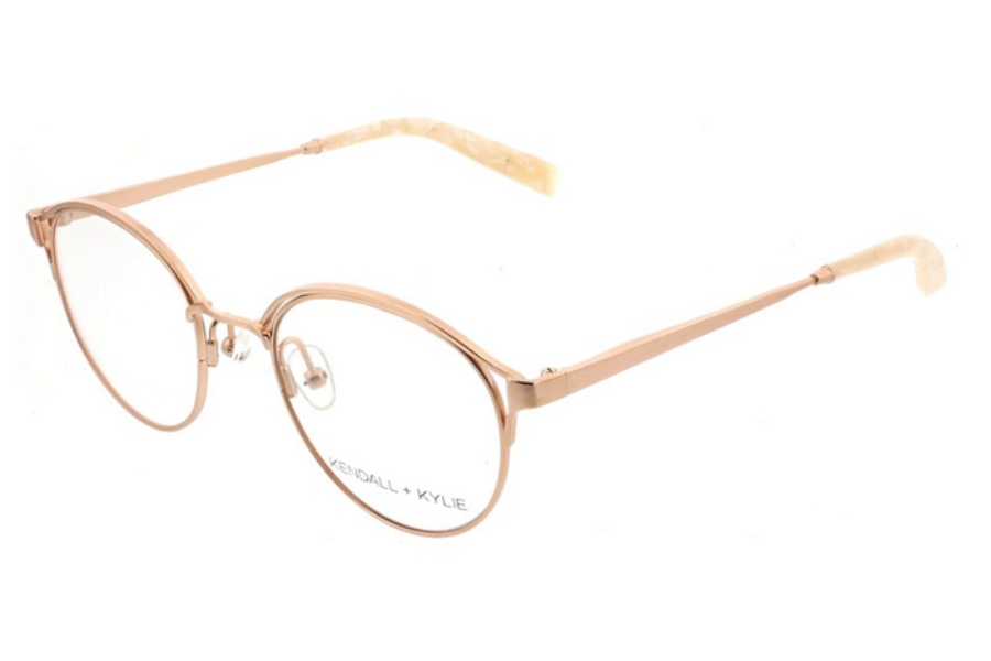 Kendall + Kylie Samara Eyeglasses in 780 Satin Rose Gold with Peach Pearl