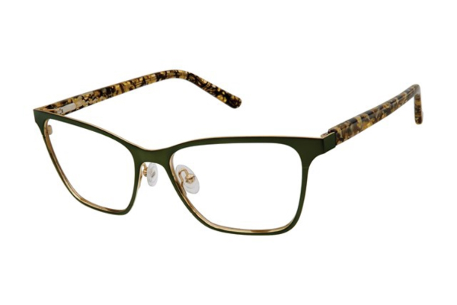 L.A.M.B. by Gwen Stefani LA054 Eyeglasses in GRN Green Gold