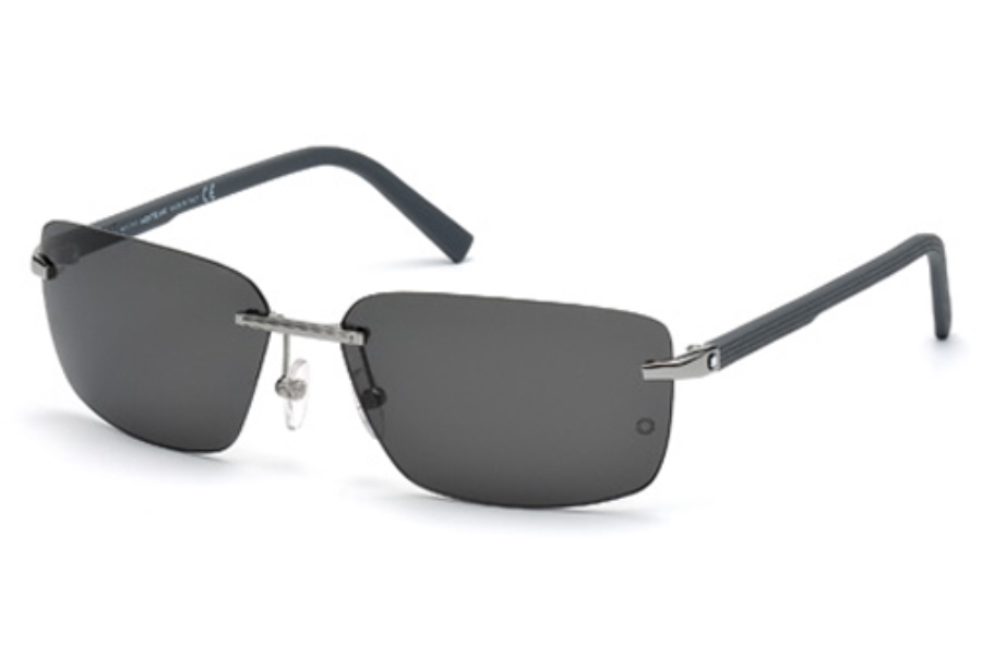Mont Blanc MB465S Sunglasses in 14A Shiny Light Ruthenium / Smoke