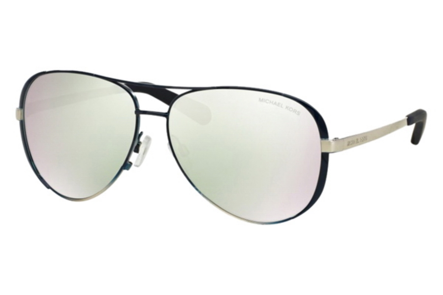 2bafae539e ... Michael Kors MK5004 CHELSEA Sunglasses in 101545 Shiny Navy Silver Fade  Silver Flash ...