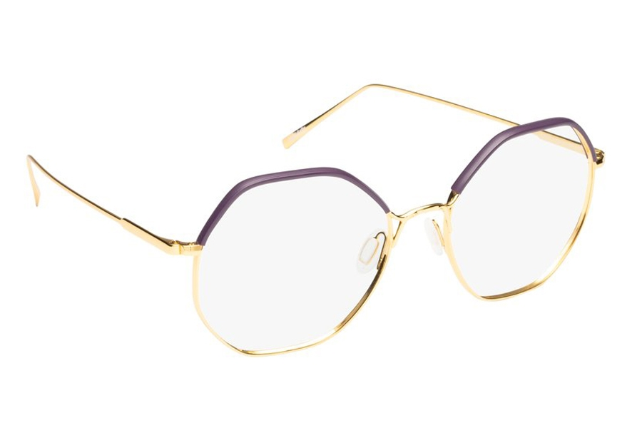 Mad in Italy Pendola Eyeglasses in C02 Yellow Gold/Purple Windsor