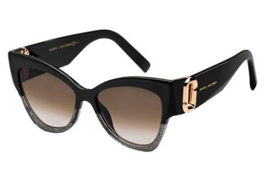 Marc Jacobs Marc 109/S Sunglasses in 006K Black Gold Cop (V6 lilac mirror gradient lens)