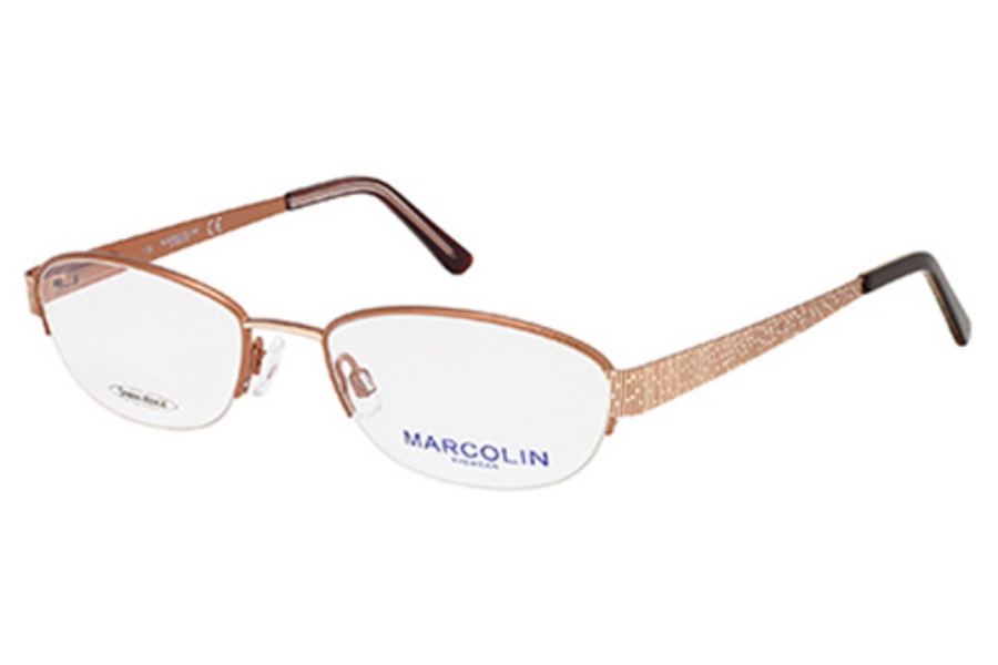 Marcolin MA7302 Eyeglasses in 045 LIGHT BROWN/GOLD
