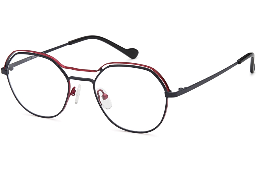 Menizzi Petite M4087 Eyeglasses in 03-Navy/Red
