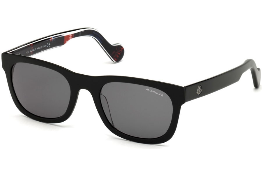 Moncler ML0122 Sunglasses in 05A - Shiny Black W. Black, Red, White Logo Pattern/ Smoke Lenses