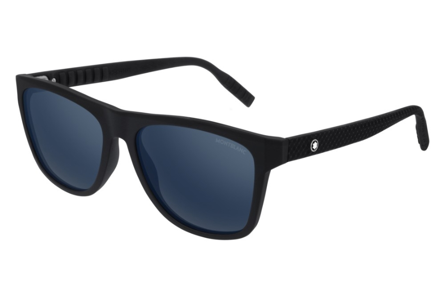 Mont Blanc MB0062S Sunglasses in 002 Black w/Blue Mirror
