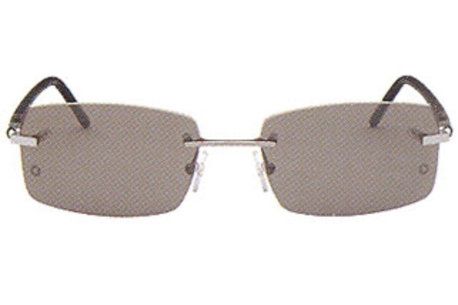 b545d2a4e5d Mont Blanc MB 85 S Sunglasses in G23 Shiny Light Ruthenium Black Temples w  ...