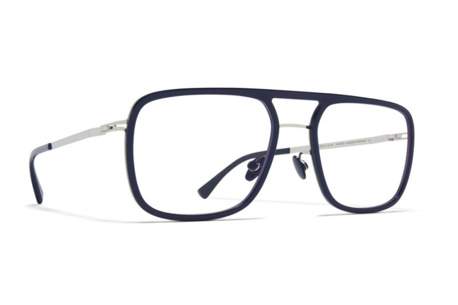 Mykita Elgard Eyeglasses in A43 Shiny Silver/Dark Blue