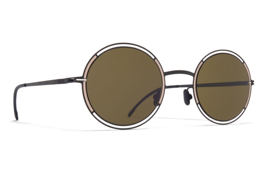 Mykita Giselle Sunglasses in Black/Sand w/Raw Green Solid