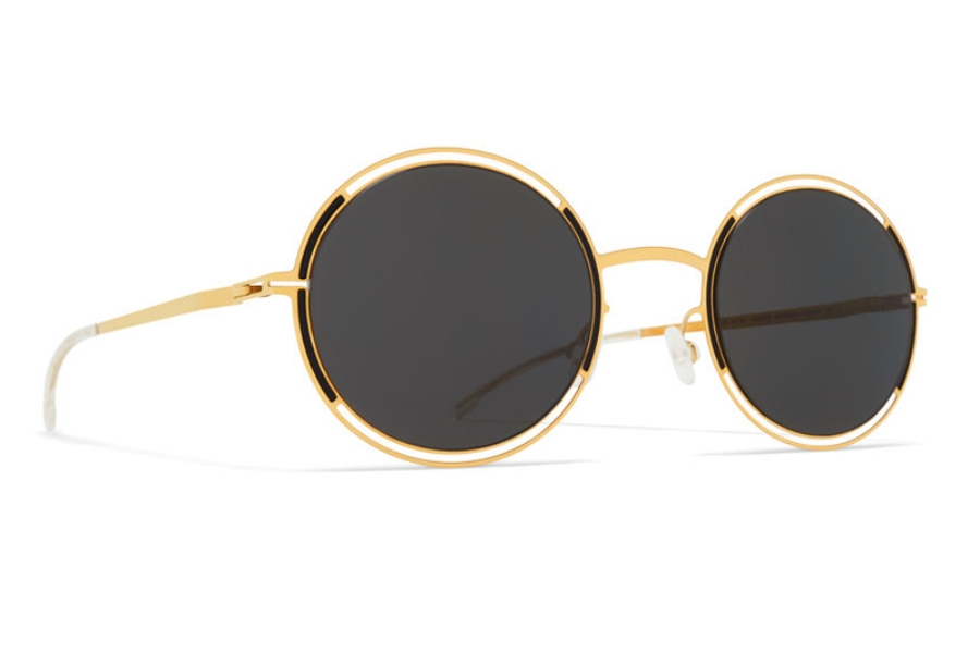 Mykita Giselle Sunglasses in Gold/Jet Black w/Dark Grey Solid