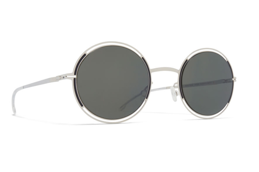 Mykita Giselle Sunglasses in Silver/Black w/Mirror Black