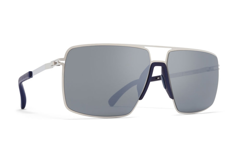 Mykita Lotus Sunglasses in MH10 Navy Blue/Shiny Silver w/Light Silver Flash