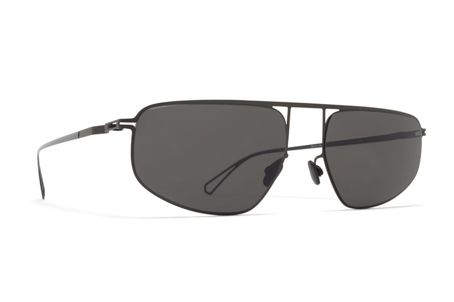 Mykita Nat Sunglasses in C59 Black/POW Glossy Black w/Dark Grey Solid