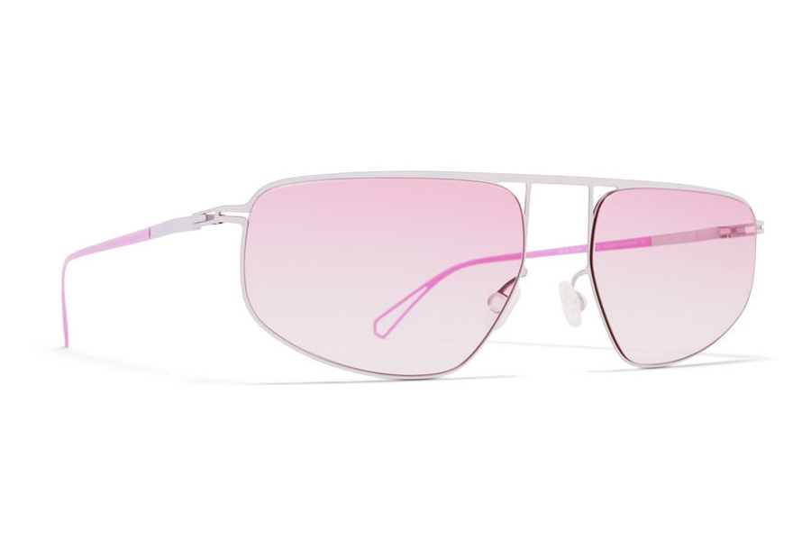 Mykita Nat Sunglasses in C81 Chrome/Barbie Lilac w/Jelly Pink Gradient