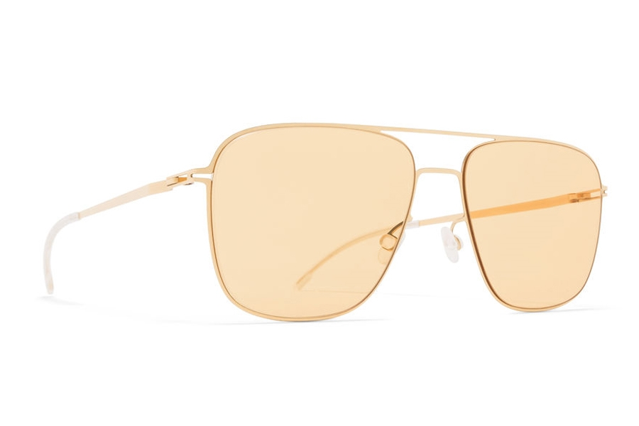 Mykita Steen Sunglasses in Glossy Gold w/Jelly Yellow Solid