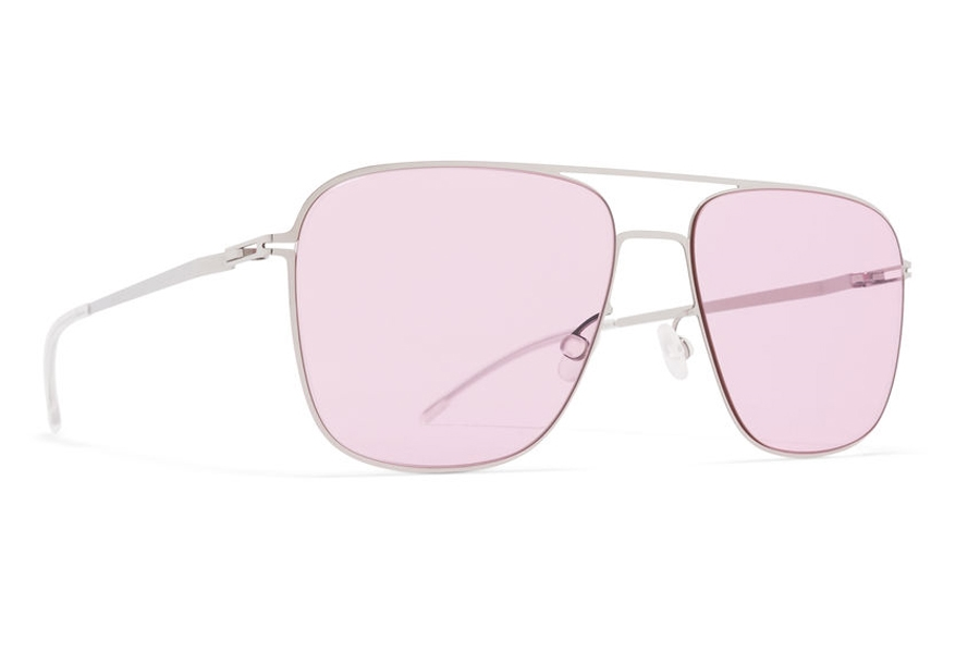 Mykita Steen Sunglasses in Shiny Silver w/Jelly Pink Solid