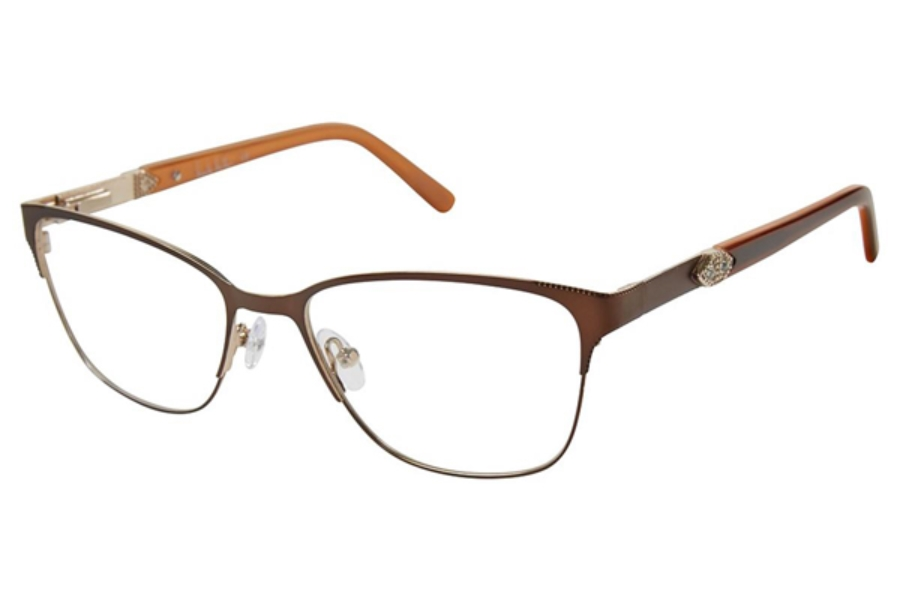 Nicole Miller Crystal Eyeglasses in C01 Matte Brown