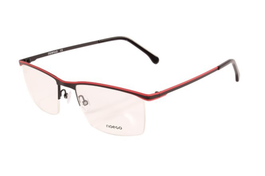 Noego Number 5 Eyeglasses in C62 Noir/Rouge