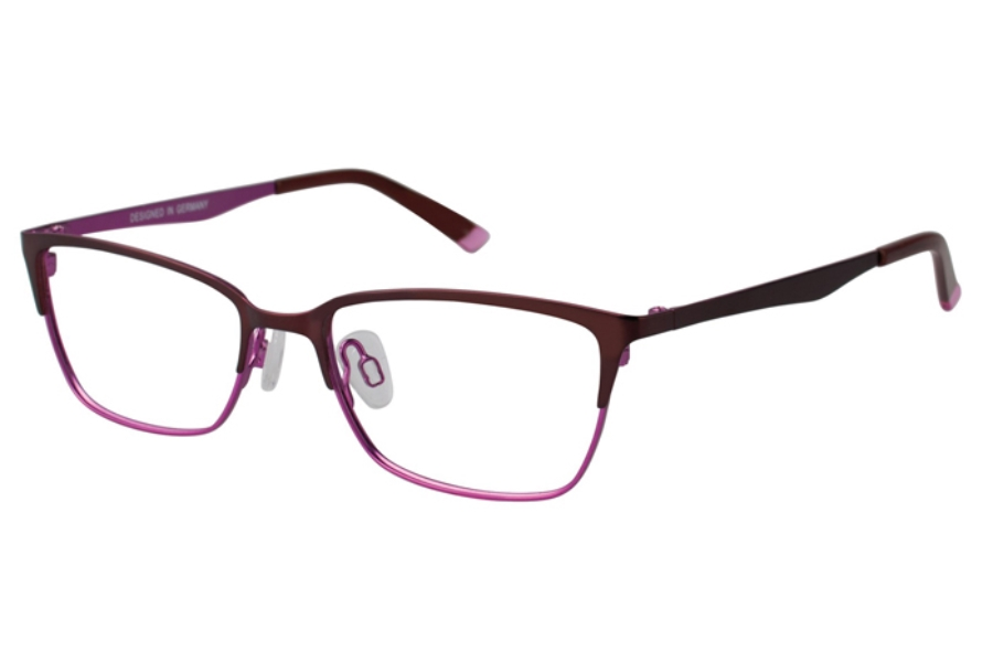 O!O OT21 Eyeglasses in 65 Brown/Magenta