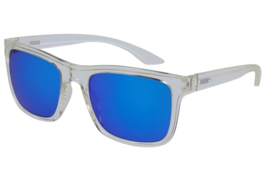 Puma PU0071S Sunglasses in 001 Crystal/Blue Mirror Double Lens